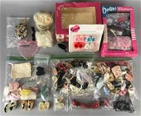 Group of 75+ pieces assorted doll shoes, socks, and