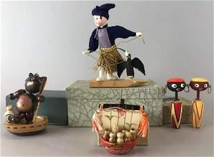 Group of 5 wood figurines