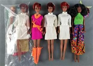 Group of 5 Julia Barbie dolls