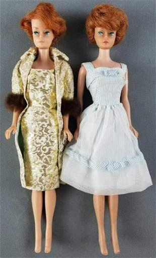2 vintage Bubblecut Barbie dolls