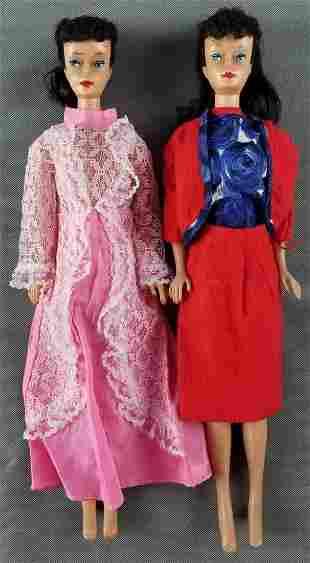 2 vintage ponytail Barbie dolls