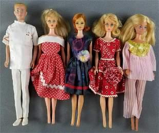 Group of 5 vintage Barbie dolls
