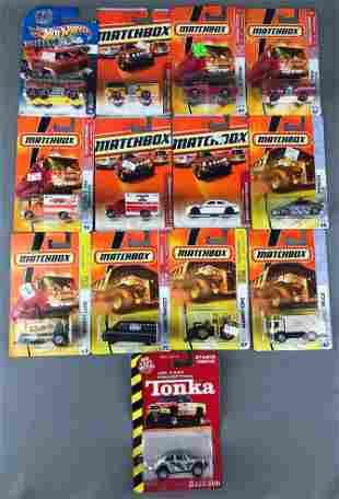 Group of 13 Matchbox, Hot Wheels, and Tonka Vehicles