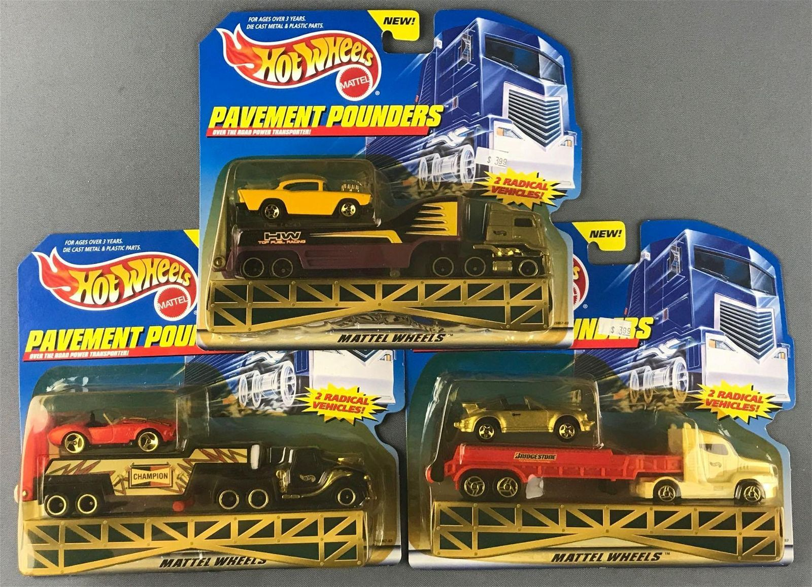 Group of 3 Hot Wheels Pavement Pounders vehicle sets