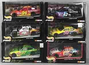 Group of 6 Team Hot Wheels NASCAR Pro Racing die-cast