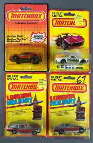 Group of 4 assorted Matchbox die-cast vehicles