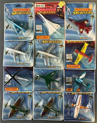 Group of 12 Matchbox Sky-Busters die-cast aircraft