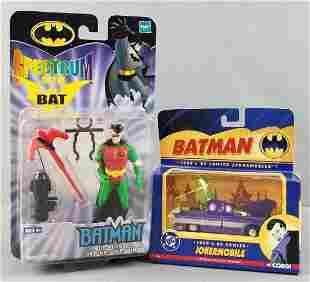 2 Batman toys, Robin action figure, Jokermobile