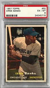 1957 Topps Baseball Ernie Banks Card PSA 6