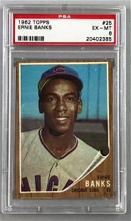 1962 Topps Baseball Ernie Banks Card PSA 6