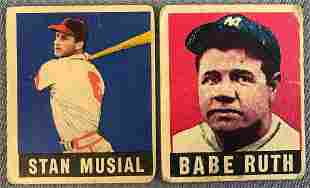 Group of 2 Baseball Cards Babe Ruth Stan Musial