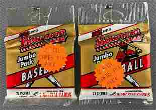 Group of 2 1992 Bowman Unopened Jumbo Baseball Packs