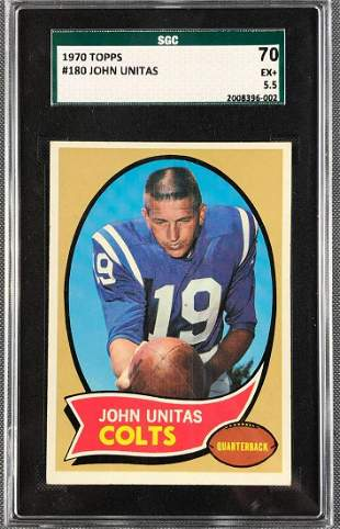 1970 Topps John Unitas Football Card #180 SGC 5.5
