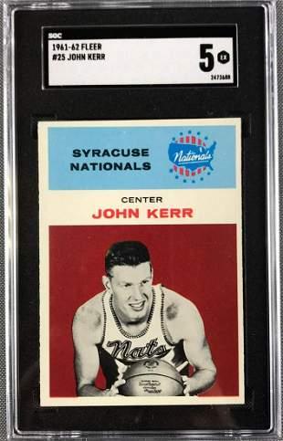 1961-62 Fleer John Kerr Basketball Card #25 SGC 5