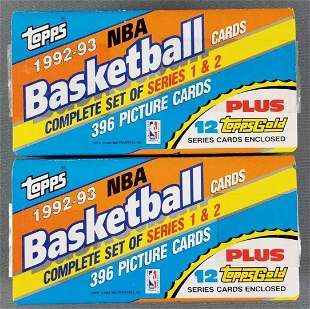 2 Topps NBA 1992-93 basketball card sets