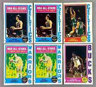 Group of 14 1974 Topps Basketball Cards HoFs