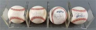 Group of 4 signed baseballs