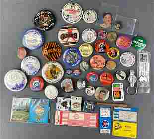 Group of Miscellaneous Pins, Keychains and Tickets