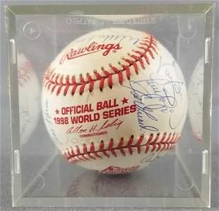 Signed 1998 New York Yankees baseball