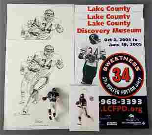 Group of Walter Payton posters and ornament
