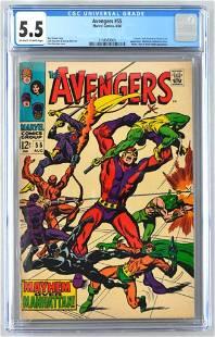 CGC Graded Marvel Comics Avengers No. 55 comic book