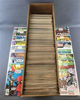 Long box of Modern Age Marvel Comics comic books