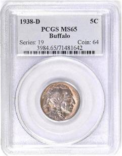 1938 D Buffalo Nickel (PCGS) MS65