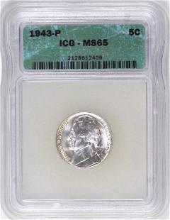 1943 P Jefferson War-time Nickel (ICG) MS65