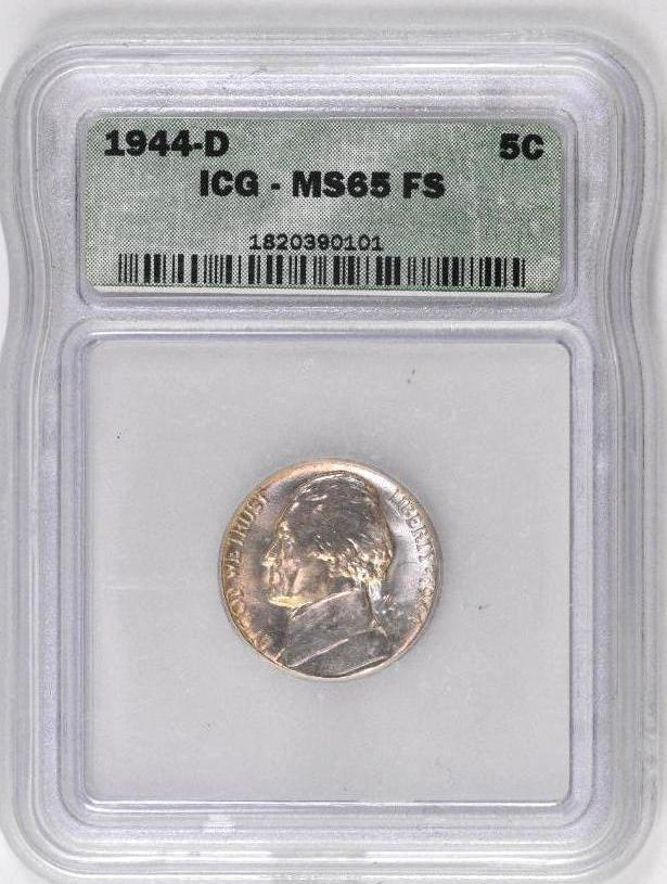 1944 D Jefferson War-time Nickel (ICG) MS65FS
