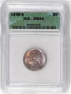 1938 S Jefferson Nickel (ICG) MS63