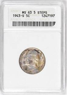 1943 S Jefferson Nickel (ANACS) MS63 5-Steps