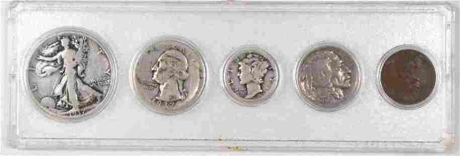 5-Coin 1937 U.S. Date Set Cent to Half Dollar