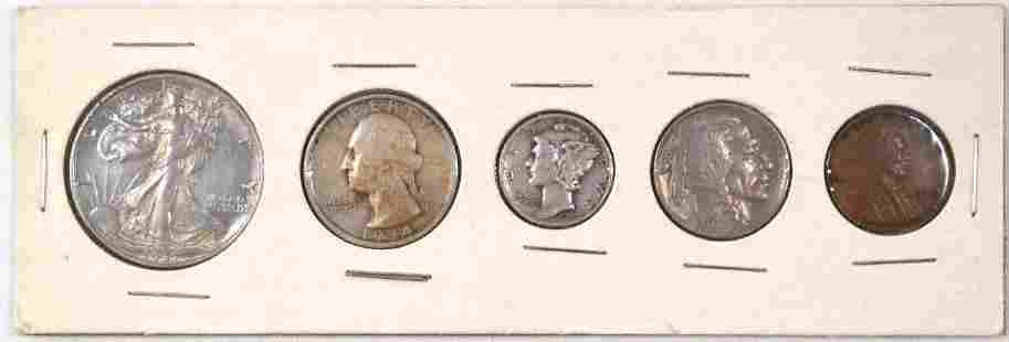 5-Coin U.S. Type Coin Set Cent to Half Dollar