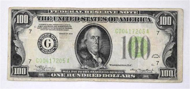 1934 $100 Federal Reserve Note