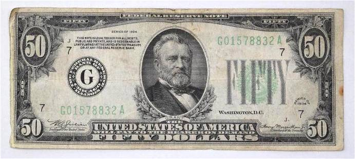 1934 $50 Federal Reserve Note