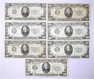 Group of (7) $20 1934 Federal Reserve Notes