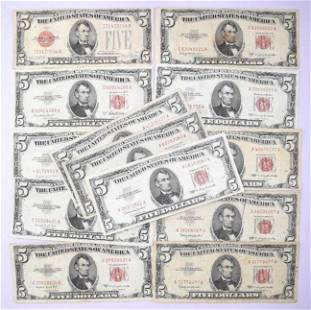 Group of (13) $5 Legal Tender Notes 1928-1963