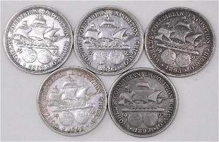 Group of (5) 1892 & 1893 Columbian Exposition Silver