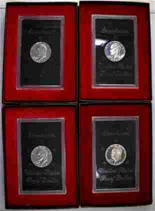 Group of (4) 1971-1974 Brown Box 40% Silver Eisenhower