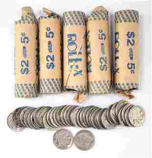 Group of (240) Buffalo Nickels in (6) Rolls of (40)