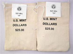 Group of (2) $25 1999 Susan B. Anthony Dollar Mint Sewn