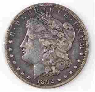 1892 CC Morgan Silver Dollar