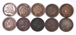 Group of (10) Flying Eagle & Indian Head Cents