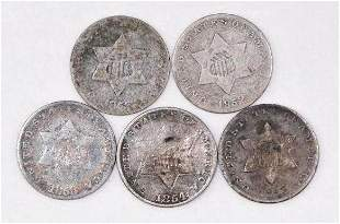 Group of (5) Three Cent Piece Silver