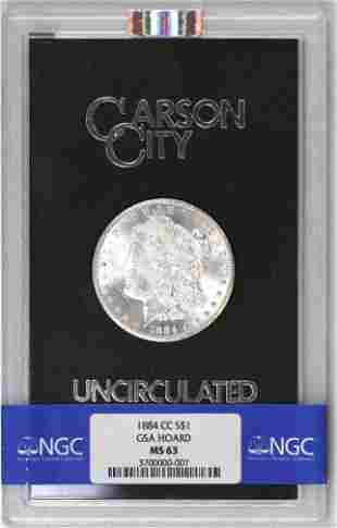 1884 CC GSA Morgan Silver Dollar (NGC) MS63