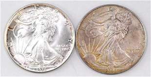 Group of (2) American Silver Eagles 1oz.