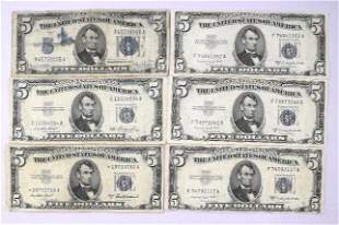 Group of (6) $5 Silver Certificate Notes