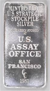 1981 U.S. Assay Office 10oz. .999 Fine Silver Ingot/Bar