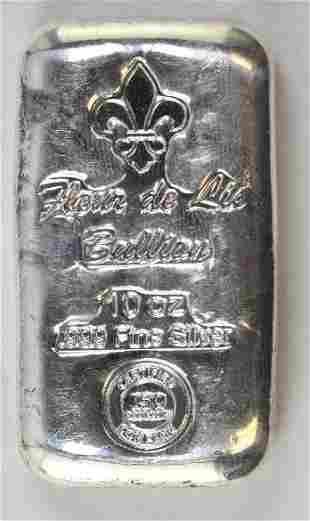 Fleur De Lis Bullion 10oz. .999 Fine Silver Ingot/Bar