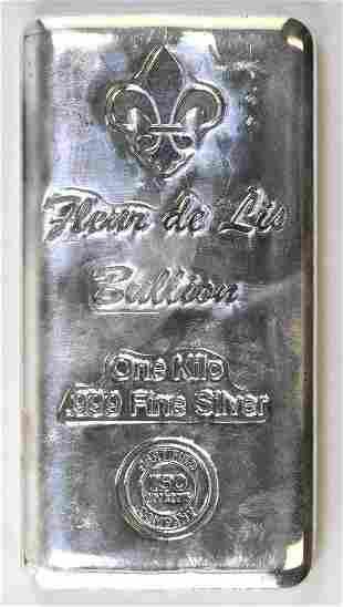 Fleur De Lis Bullion 1 Kilo (32.15oz.) .999 Fine Silver